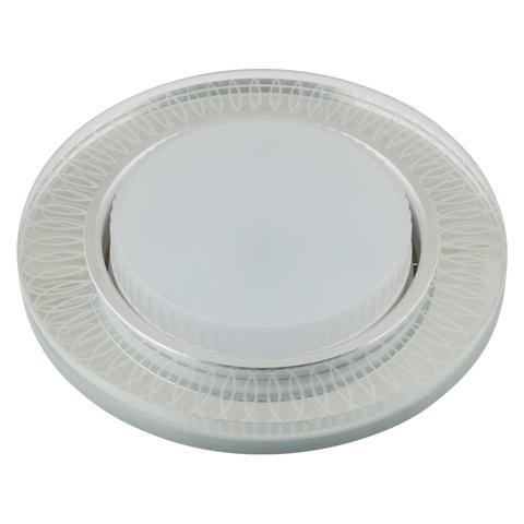 DLS-L155 GX53 GLASSY/CLEAR 3D Светильник декоративный встраиваемый, серия Luciole. Без лампы, цоколь GU5.3. Доп. светодиодная подсветка 4Вт. Металл/стекло. Зеркальный/Прозрачный, эффект 3D. ТМ Fametto