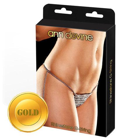 Трусики-стринги из золотистых кристаллов Rhinestone G-String