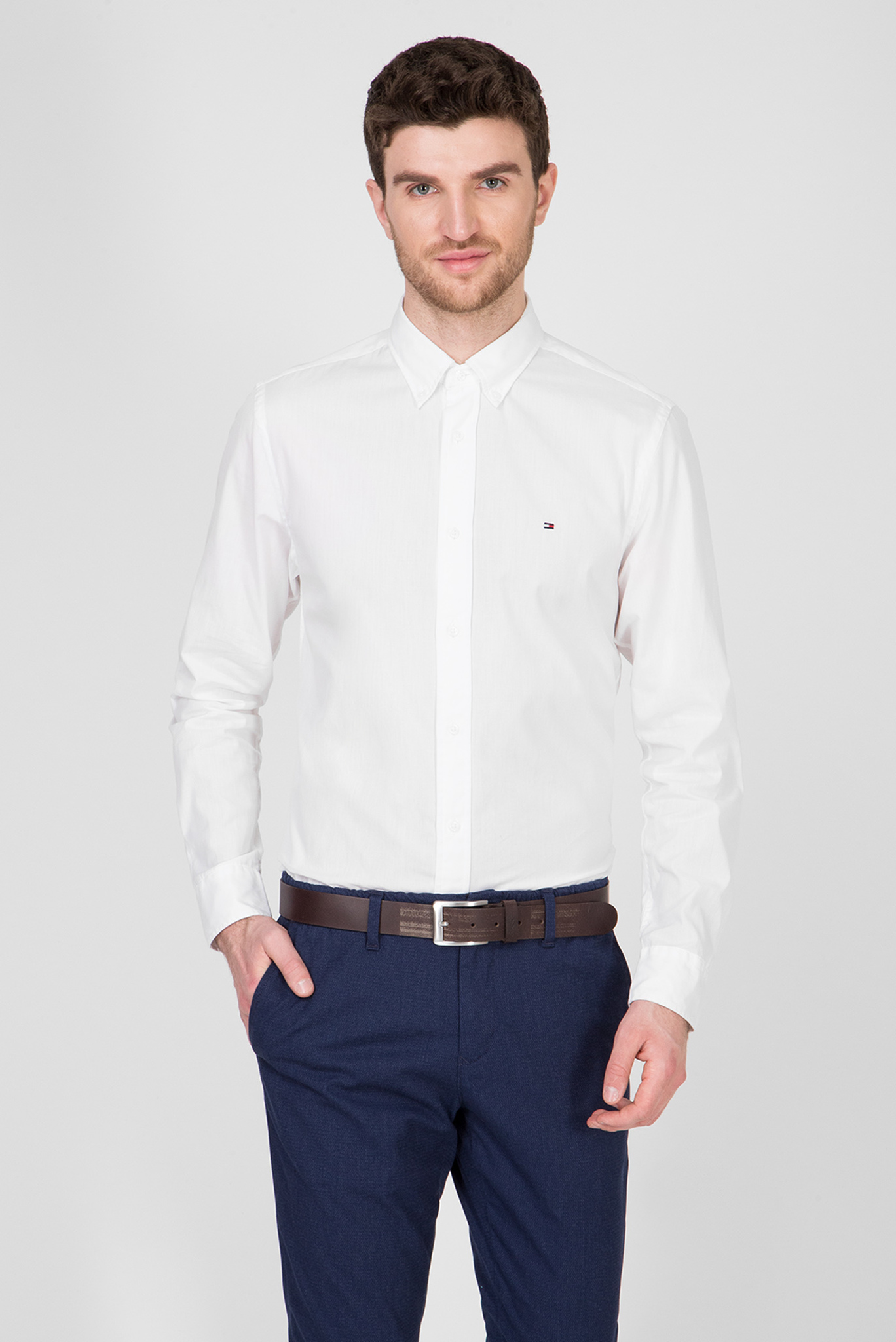 Мужская белая рубашка NATURAL SOFT POPLIN Tommy Hilfiger