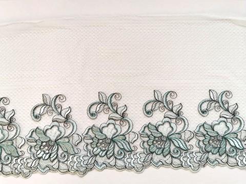 Вышивка на сетке, ЛЕВАЯ, 23 см, светло-зеленый, (Артикул: VS-1030), м