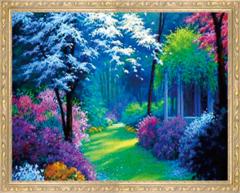 Алмазная Мозаика 30x40 Лучи солнца пробиваются в лесу
