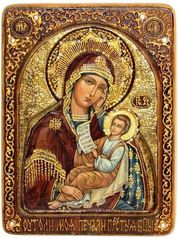 Инкрустированная живописная икона Образ Божией Матери Утоли моя печали 29х21см на натуральном кипарисе в подарочной коробке
