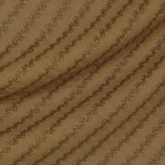 Льняное полотно цвета пеньки с вышивкой тесьмой
