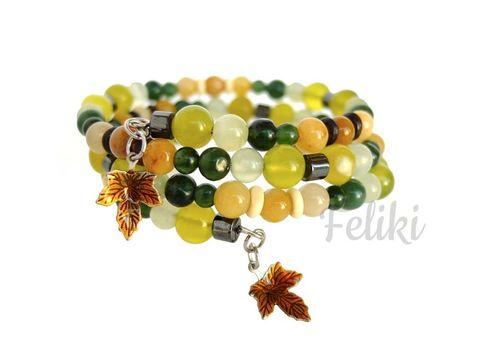 браслет спираль с нефритом, браслетна проволоке мемори, зелёный