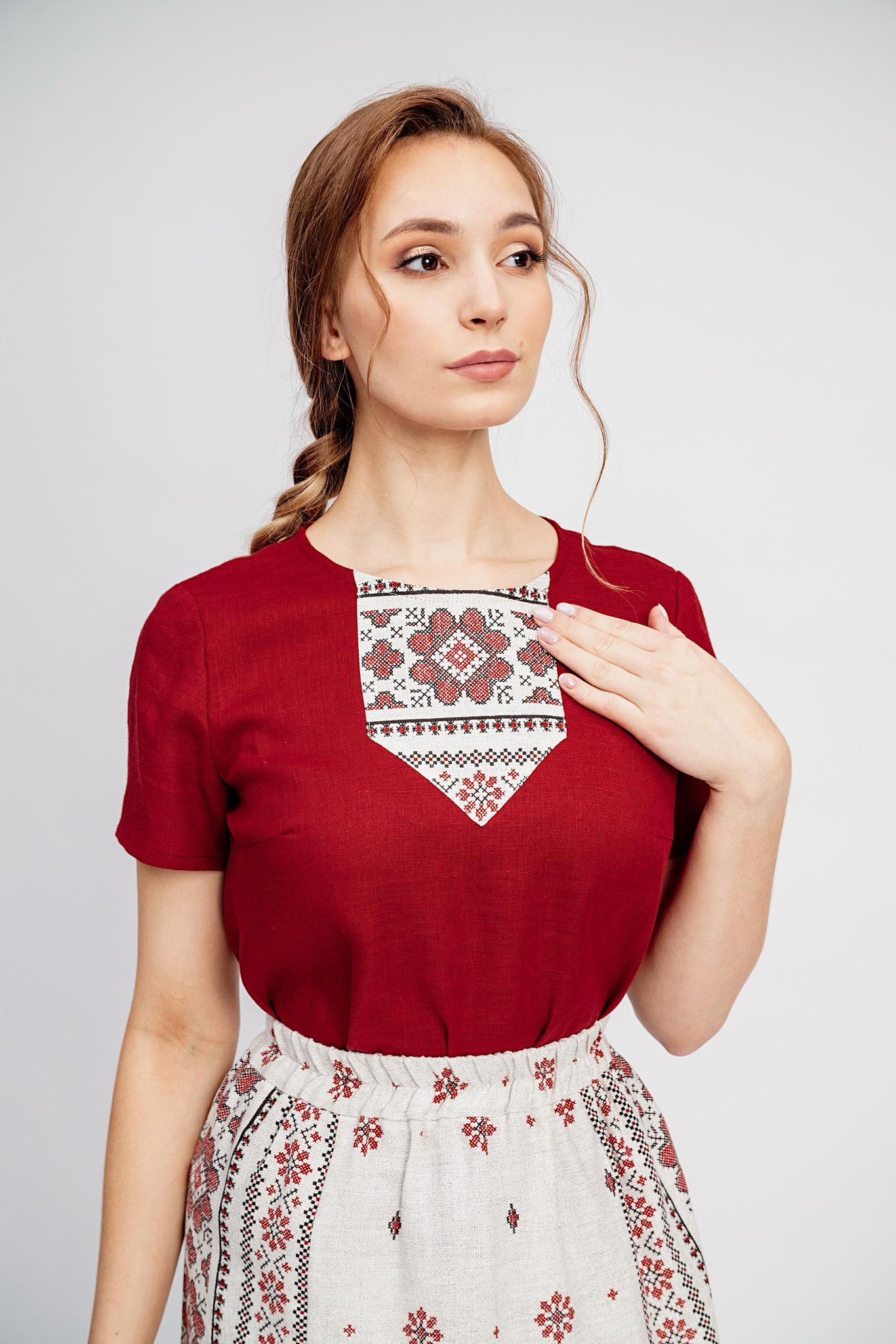 Русская народная блузка из льна