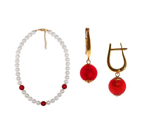 Комплект Giorno e Notte бело-красный (серьги на серебре, ожерелье)