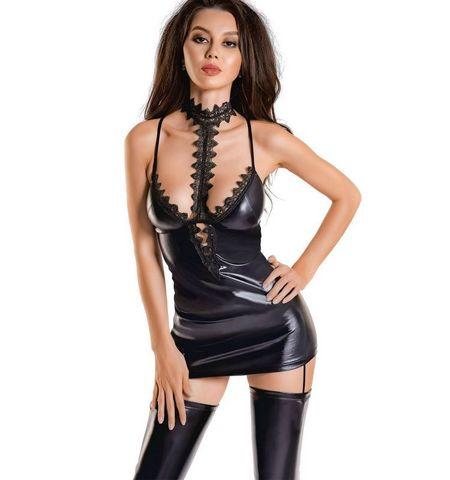 Глянцевое платье с ажурным чокером Ivy