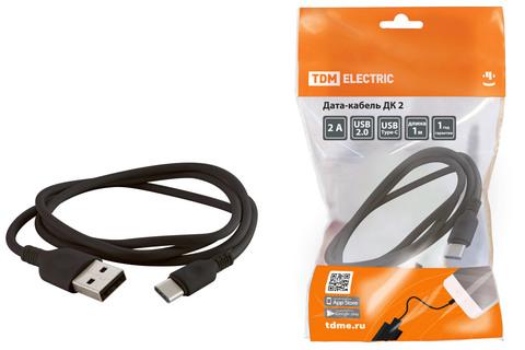 Дата-кабель, ДК 2, USB - USB Type-C, 1 м, черный, TDM