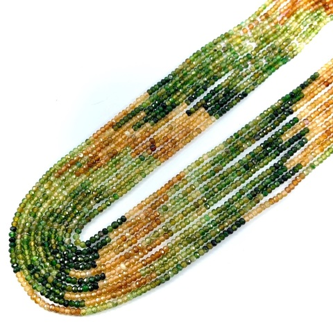 Бусины турмалин градиент АА рондель граненый 2,7х1,9 мм нить 39 см