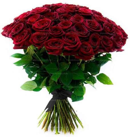 Траурный букет из 30 бордовых роз (70 см)
