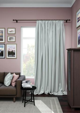 Готовая штора сатен Авери с подхватом серый