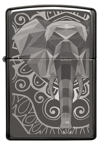 Зажигалка Zippo Elephant Fancy Fill Design с покрытием Black Ice, латунь/сталь, чёрная, глянцевая