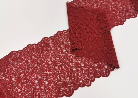 Эластичное кружево, 21 см, темно-красное, (Арт: EK-2258), м
