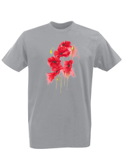 Футболка с принтом Цветы (Маки) серая 002