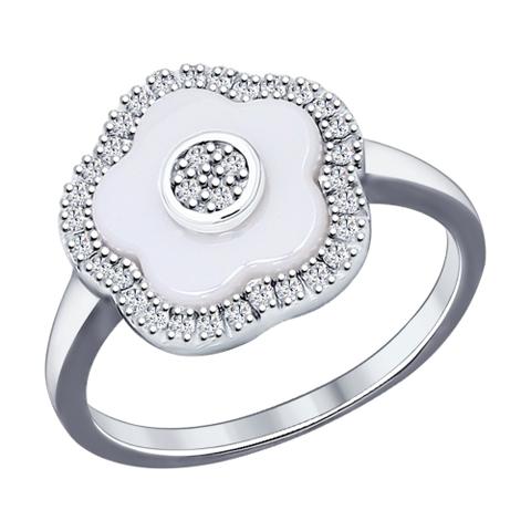 94011621 - Кольцо из серебра с белой керамикой и фианитами