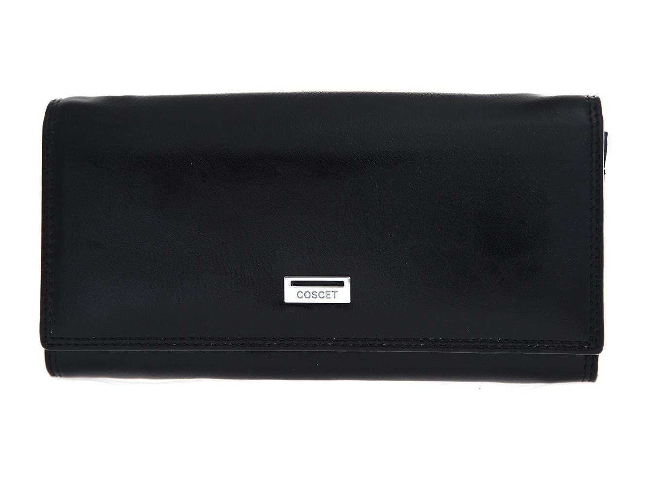 Стильный чёрный женский кошелёк из из искусственной кожи с 3 большими отделениями, двойным отделением в монетнице, 2 потайными карманами, окошком для пропуска и 8 кармашками для пластиковых карт CS208-01A