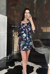 Гала. Молодежное облегающее платье мини. Цветы