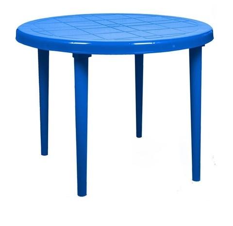 Пластиковый cтол круглый синий