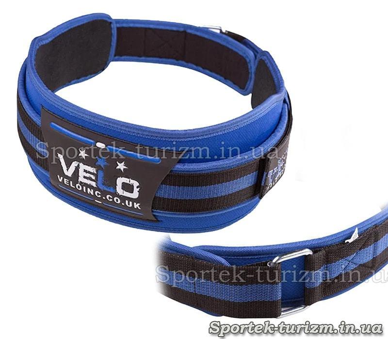 Атлетический пояс VELO Polyfoam, сине-черный, размер L, VLS-21L