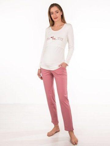 Euromama/Евромама. Пижама для беременных и кормящих свитшот и штаны, ягодный