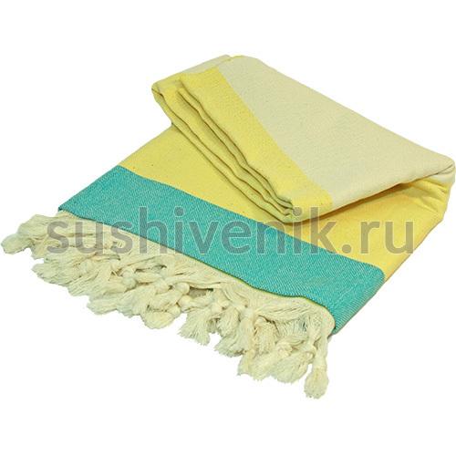 Пештемаль с желтыми и голубыми полосками