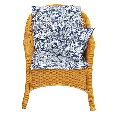 Подушка на стул со спинкой Пальма синий уличная коллекция