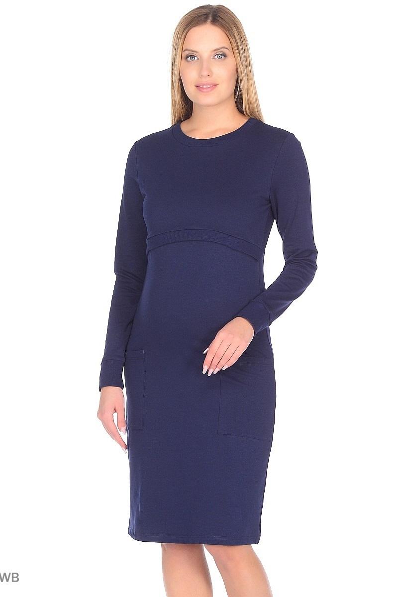 Платье для беременных и кормящих 09967 темно-синий