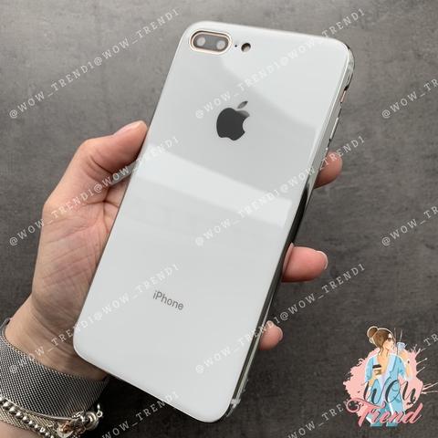 Чехол iPhone 7+/8+ Glass Silicone Case Logo /white/