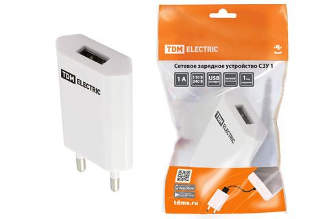 Сетевое зарядное устройство, СЗУ 1, 1 А, 1 USB, белый, TDM