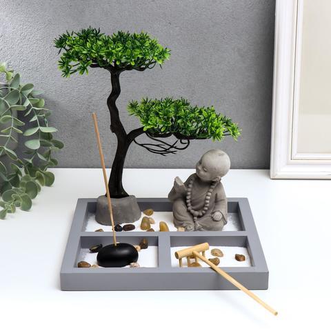 Сад Дзен Маленький будда у дерева в саду, 22 см