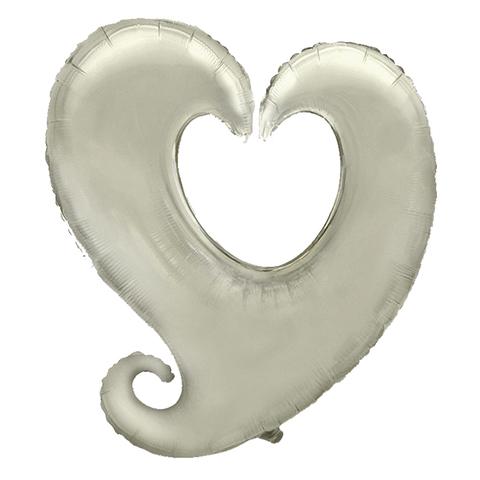 Шар-сердце витое серебро, 81 см