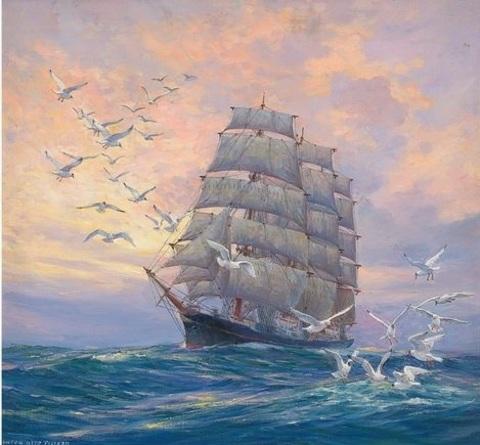 Алмазная Мозаика 40x50 Чайки окружили корабль в море (арт. VR1003)