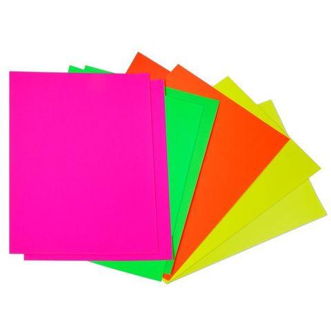 Бумага цветная Каляка-Маляка, самоклеящаяся, флуоресцентная, 8 листов, 4 цвета, A4 (в папке), БФСКМ08
