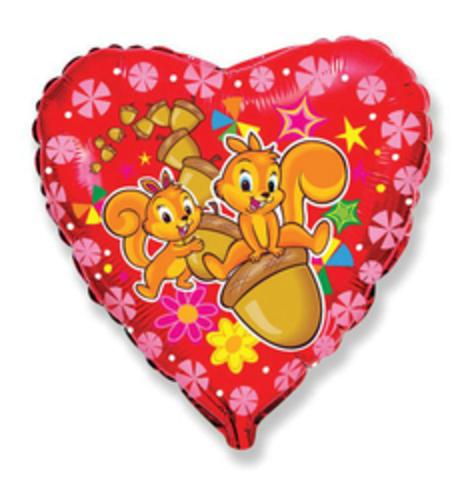 F Сердце Весёлые белки, 18''/46 см, 1 шт.