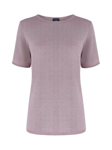 Женский шелковый джемпер светло-розового цвета с укороченным рукавом - фото 1