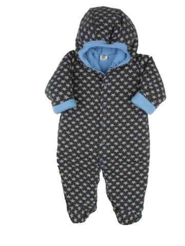 Утепленный комбинезон для малышей Звездочки серо-голубой