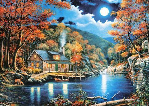 Алмазная Мозаика 30x40 Дом у озера ночью (Арт. MSEG3605 )