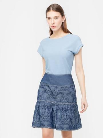 Фото летняя юбка на широкой кокетке с прорезными карманами - Юбка Б029-194 (1)