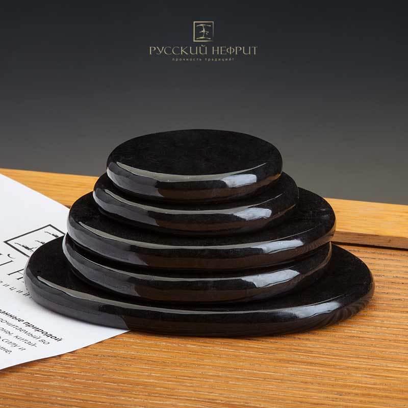 ЗОЖ Камни из черного нефрита для стоунтерапии. Набор 3шт Камни-массаж-черн.jpg