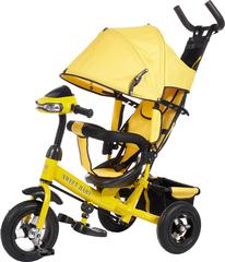 Детский трёхколёсный велосипед с ручкой и музыкой ( желтый ) Sweet baby - колёса надувные