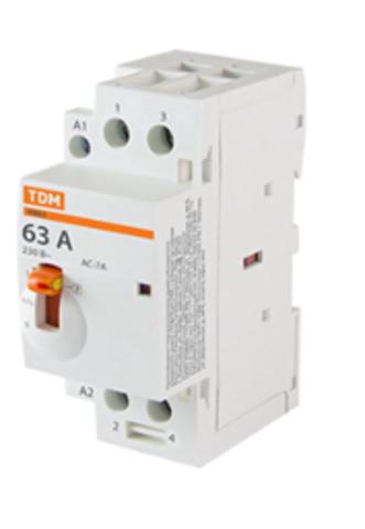 Контактор модульный с ручным управлением КМ63/2-63 2НО 230В АС TDM