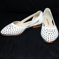 Туфли балетки белые летние Evromoda 286.85 Summer White.