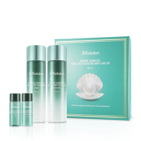JM Solution Marine Luminous Pearl Moisture Skin Care Set  (Тонер + Эмульсия) набор для глубокого увлажнения кожи с экстрактом жемчуга
