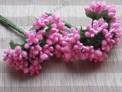 Тычинки с ягодами в букете ярко-розовые