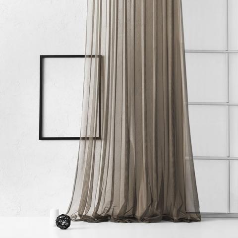 Тюль из сетки соты Гретель коричневый
