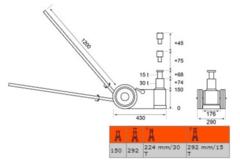Схема. Пневмогидравлический домкрат, г/п 30т/15т BAHCO BH23015C
