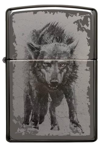 Зажигалка Zippo Wolf Design с покрытием Black Ice, латунь/сталь, чёрная, глянцевая