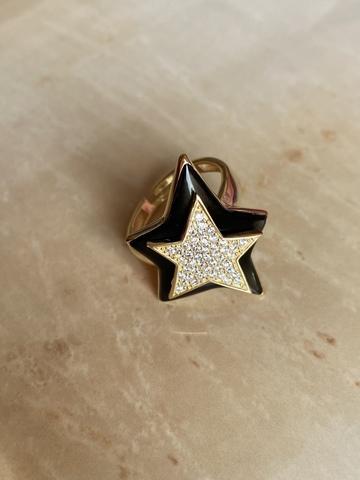 Кольцо Звезда черное, позолоченное серебро