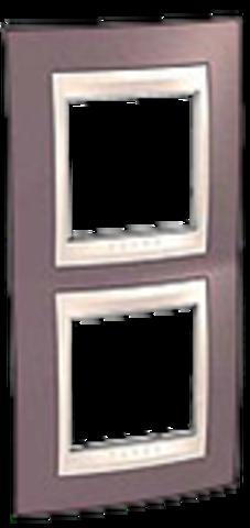 Рамка на 2 поста. Цвет вертикальная Лиловый/Бежевый. Schneider electric Unica Хамелеон. MGU6.004V.576