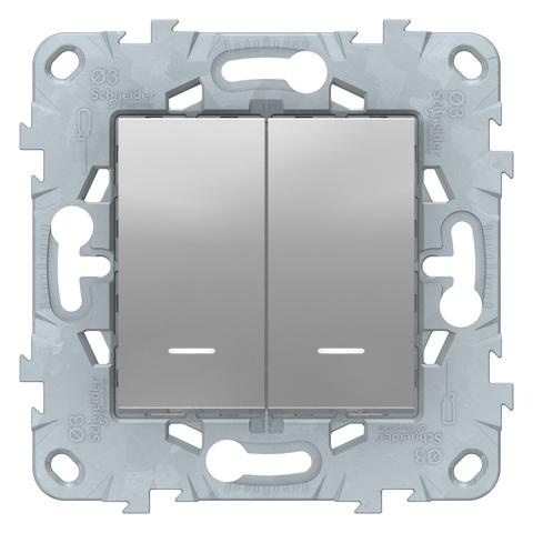 Выключатель двухклавишный с подсветкой. Цвет Алюминий. Schneider Electric Unica New. NU521130N